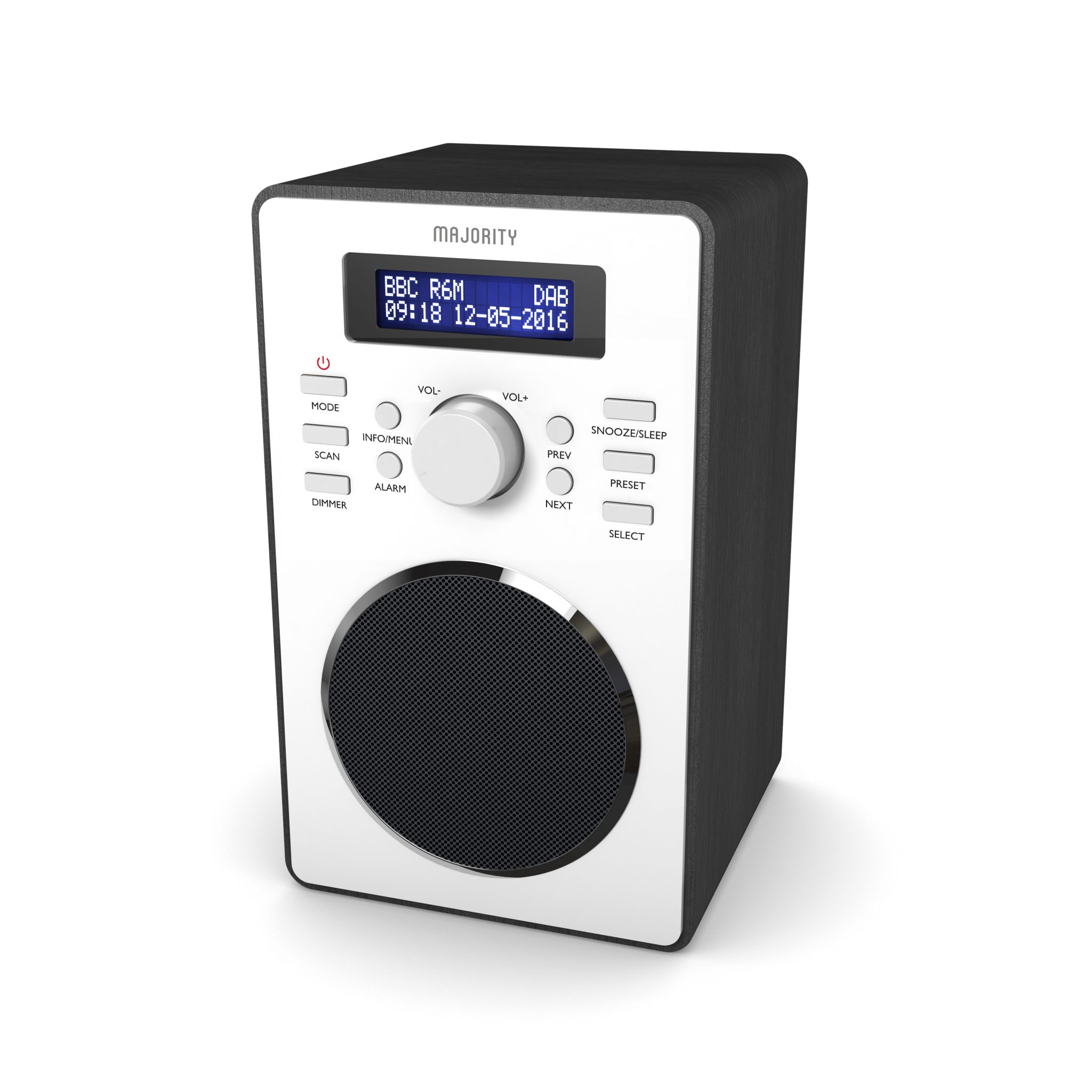 DAB Digital Radio - Barton Black Angled
