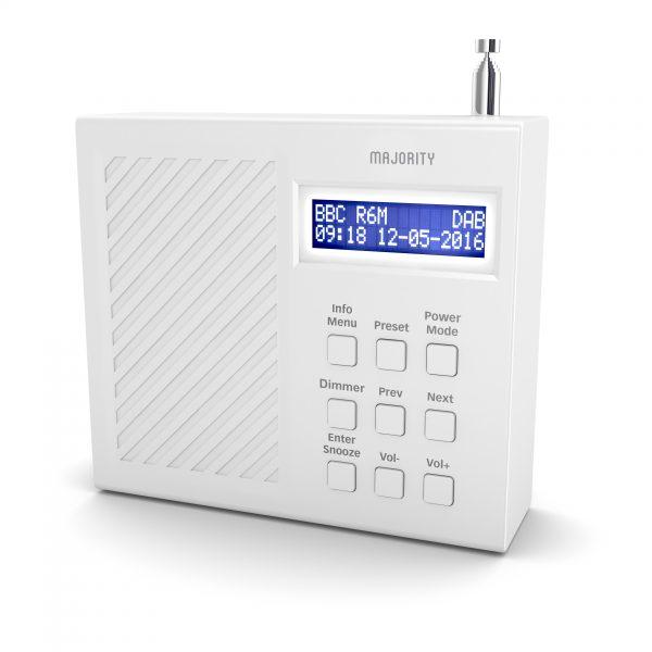 DAB Radio Alarm Clock - Arbury White Angled