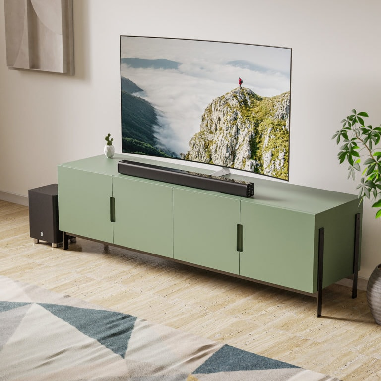 Our flagship TV Sound Bar. Experience crystal-clear HD cinematic sound with the Majority K2 2.1 Channel Bluetooth Sound Bar and Subwoofer.