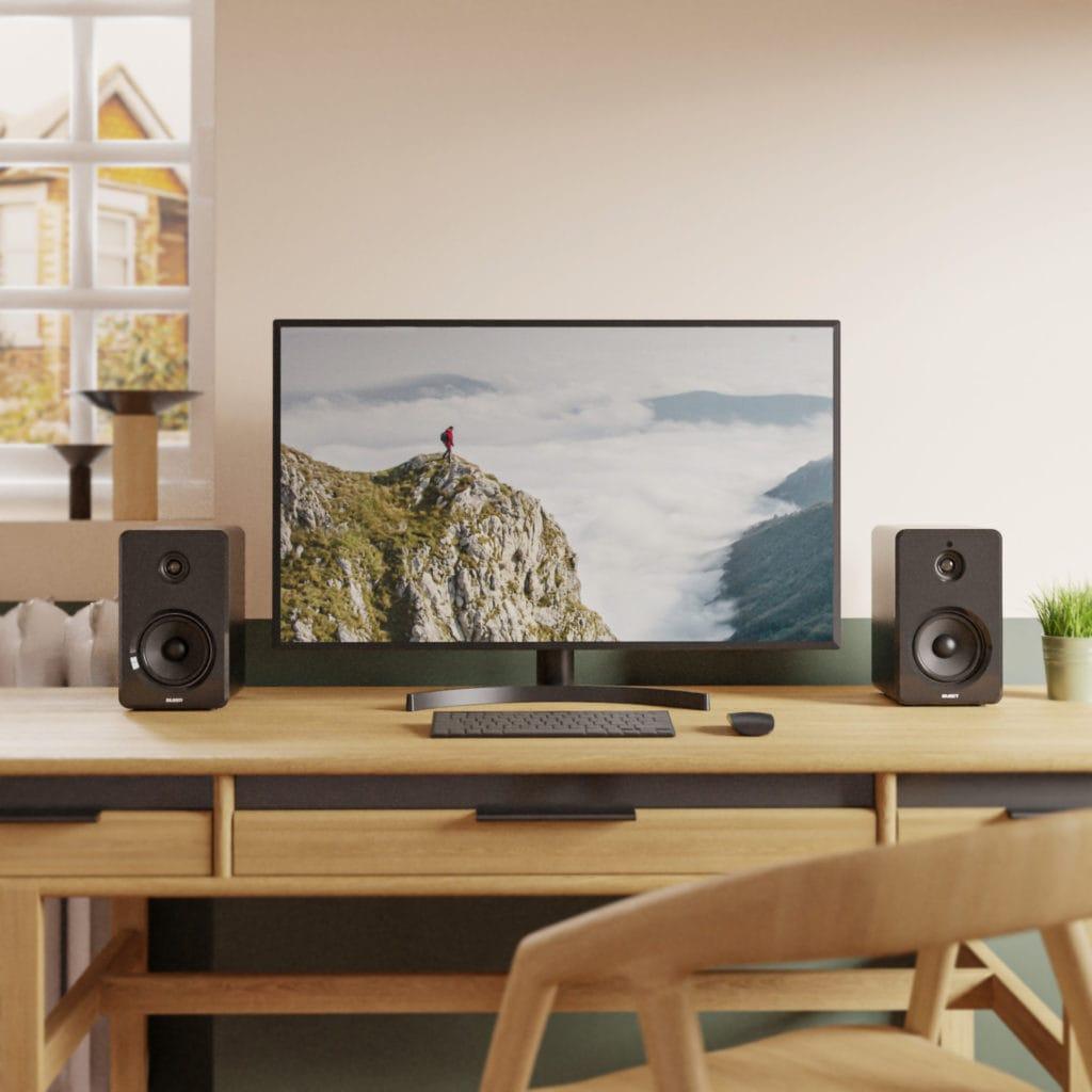 Majority D40 Bookshelf Bluetooth Speakers Computer Desk