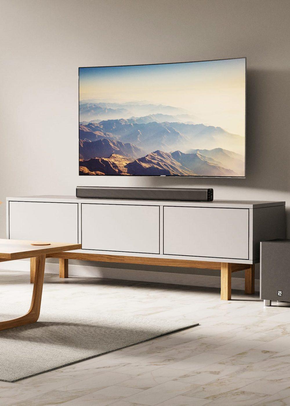 Majority K2 Bluetooth Soundbar Subwoofer Living Room Lifestyle Black