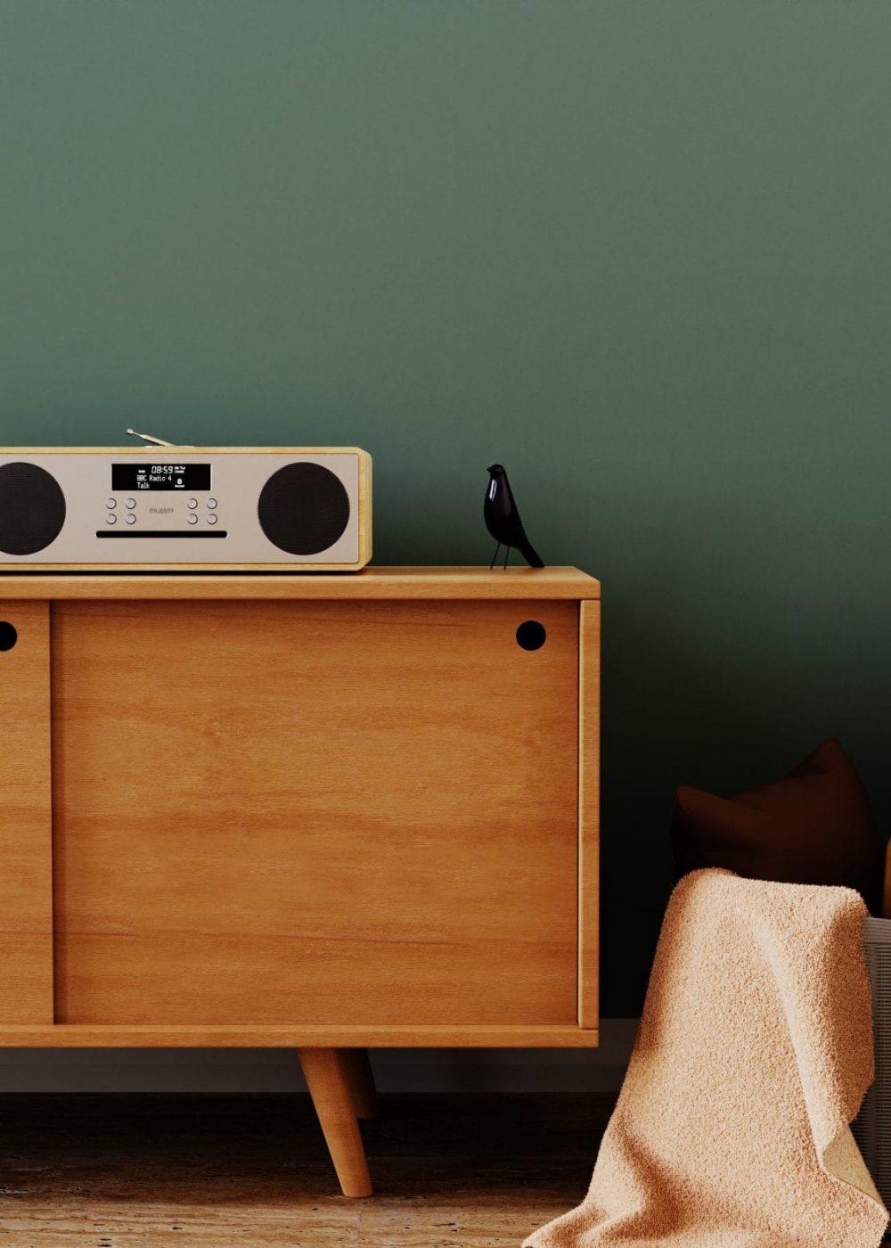 DAB Radio Music System - Oakington CD Player Oak on Table