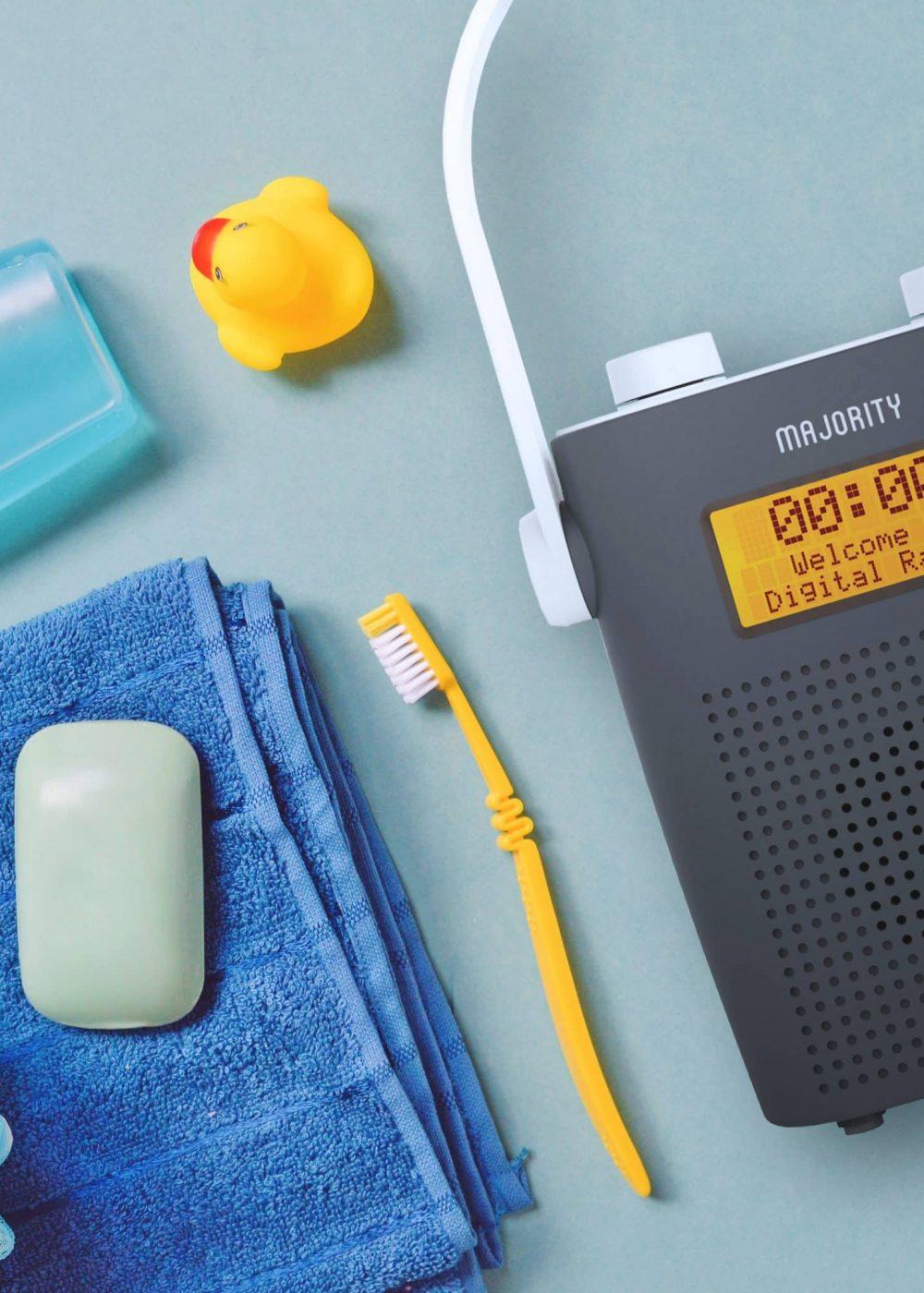 DAB Shower Radio - Eversden Grey Closeup